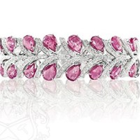 37.46cts of Natural Untreated Pink Sapphires set in an 18kw gold bracelet with 4.22cts of diamonds