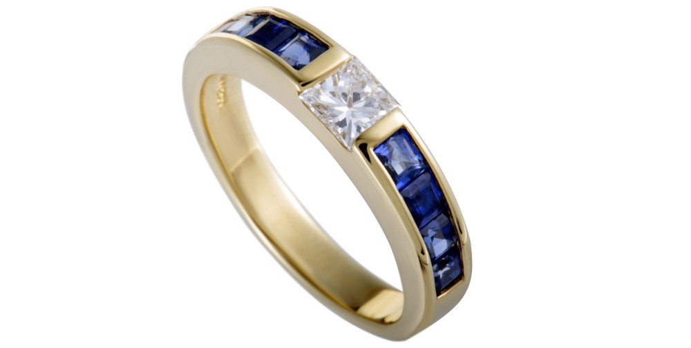 Tiffany & Co. 18K Yellow Gold Diamond and Sapphire Invisible Set Band Ring