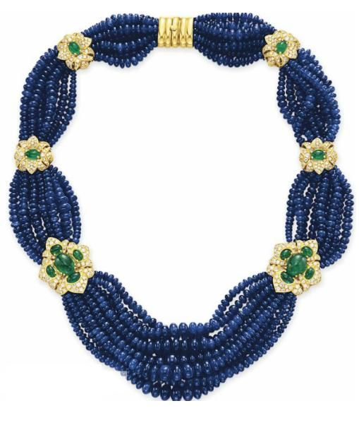 Gorgeous Sapphire Bead, Diamond, and Emerald Necklace