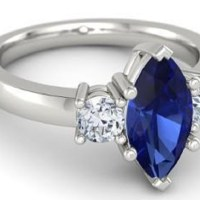 Gorgeous 2.00 Carat Marquise Cut Sapphire and 0.50 Carats Round Diamond Ring