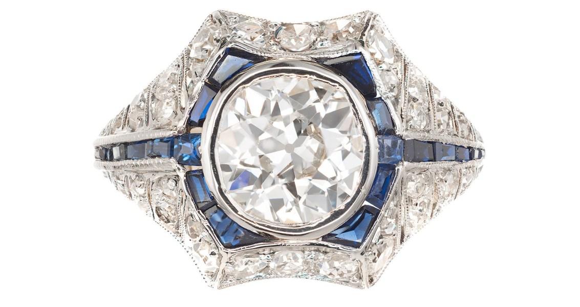 Vintage 1.65CT Old European Diamond Sapphire 18K with Platinum Top Art Deco Ring