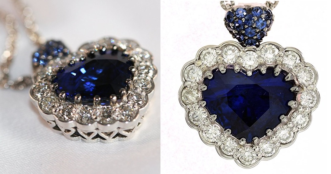 Sapphire and Diamond Necklace With a GIA Certified 5.05ct Heart Shape Blue Sapphire.