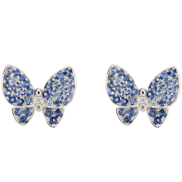 Jona Blue Sapphire White Diamond 18K White Gold Butterfly Stud Earrings $1,347.28