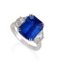 Estate Natural 'No Heat' Ceylon Sapphire Diamond Platinum Ring