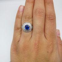 Kashmir Origin Sapphire 2.18cts Tiffany Original Art Deco Ring AGL Unheated