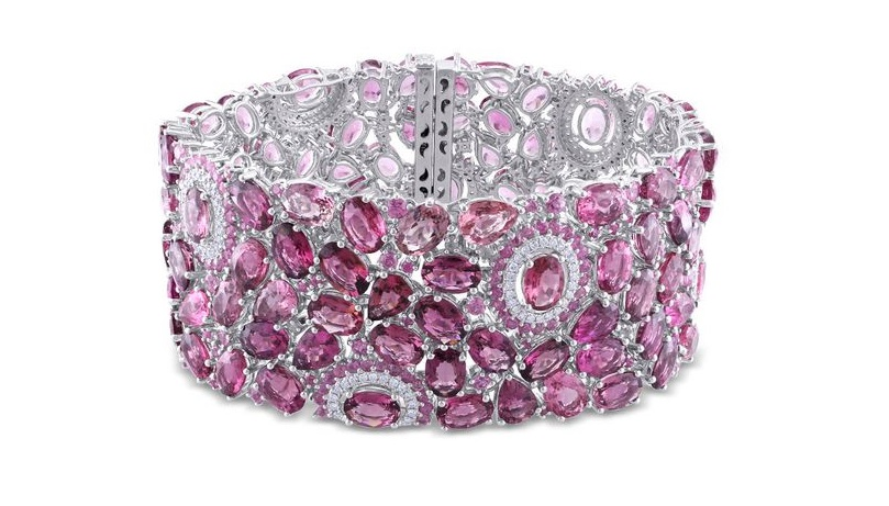 A Gorgeous 1 ct Diamond, 92.375 ct Pink Tourmaline and Sapphire Bracelet