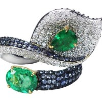 Studio Rêves 18 Karat Gold, Diamond Emerald and Blue Sapphire Leaf Cocktail Ring