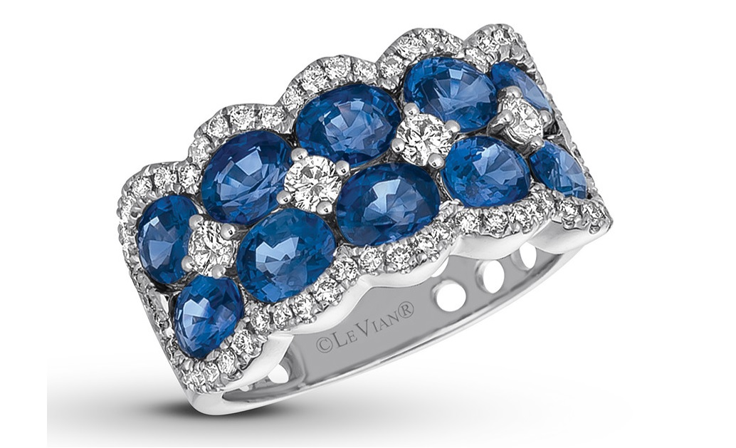 Le Vian Natural Sapphire Ring 5/8 cttw Diamonds 14K Gold