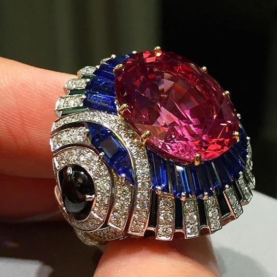 Pink Spinel, Sapphire and Diamond Ring