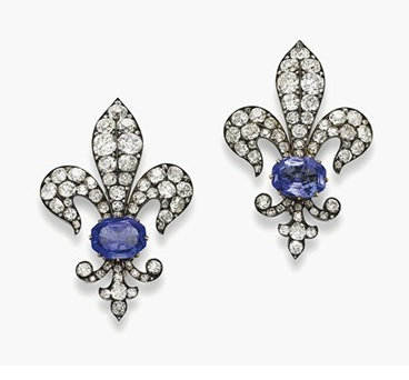 A pair of 19th-century sapphire and diamond brooches.