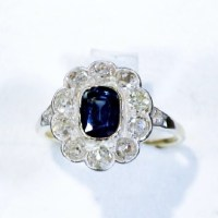 A Gorgeous Antique 1.28 Ct Sapphire and 1.65 Ct Diamond 14k Yellow Gold Ring Circa 1890