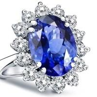 Stunning 14K Gold Princess Diana Genuine Diamond & Sapphire Ring, 3.00ctw