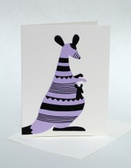Screenprinted kangaroo, blank hand written card
