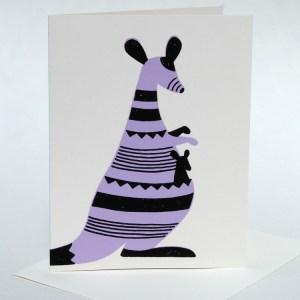 Screenprinted kangaroo, blank hand written card