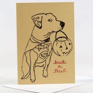 Halloween card with dog and pumpkin