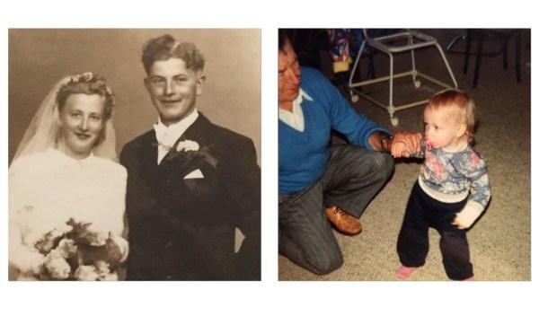 farmor,farfar,sennie,1,år,fødselsdag,billede,bryllupsbillede,gammelt,besøg,