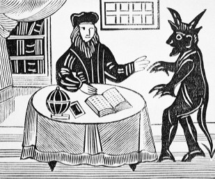 Dr. Faustus in Counsel with the Devil, from Gent's translation of 'Dr. Faustus' by Christopher Marlowe (1564-93) 1648 from a collection of chapbooks on esoterica (woodcut)
