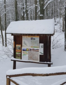 cartello del Parco delle Foreste Casentinesi al Borbotto