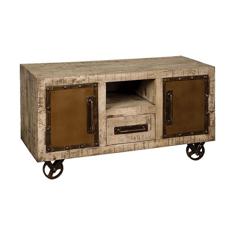 meuble tv 2 portes bois de manguier et metal 120 iffy