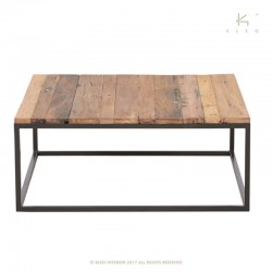 table basse carree bois et metal 90x90 malaga