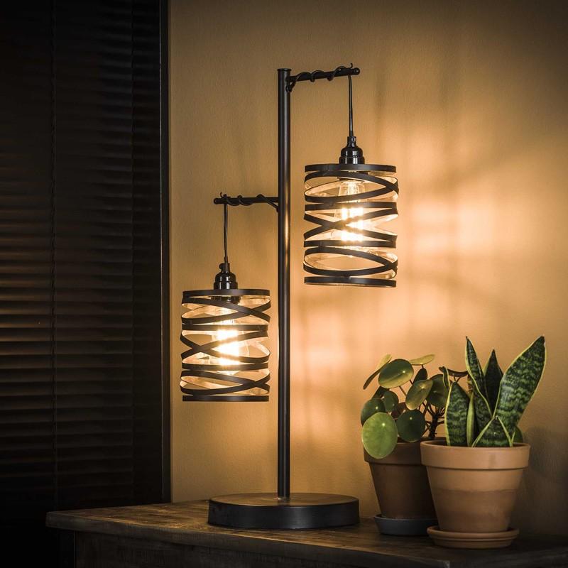 lampe de table 2 cylindres suspendus en torsades de metal style industriel