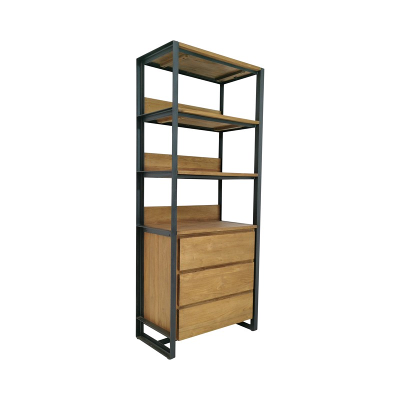bibliotheque 3 tiroirs teck recycle et metal 75 sacha