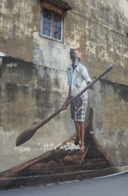 Penang street art 10 - The Indian Boatman