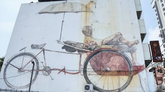 Penang street art 11 - Trishaw Man