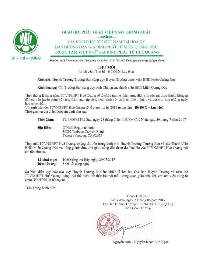 thư mời trại hè BHD 2017