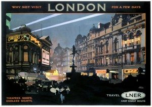 Piccadilly Circus, West End, London. Vintage LNER Travel poster