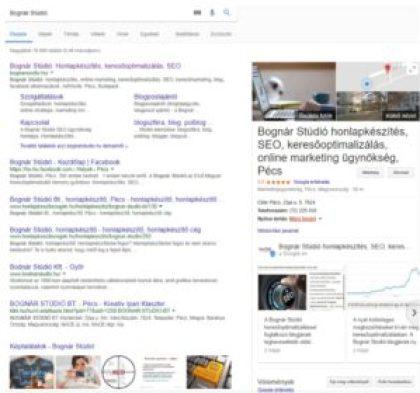 A Bognár Stúdió nevére ezt a találatsort adja ki a SERP, vagyis a Google keresőtábla.