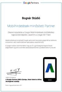 Mobilhirdetés minősített partner oklevél