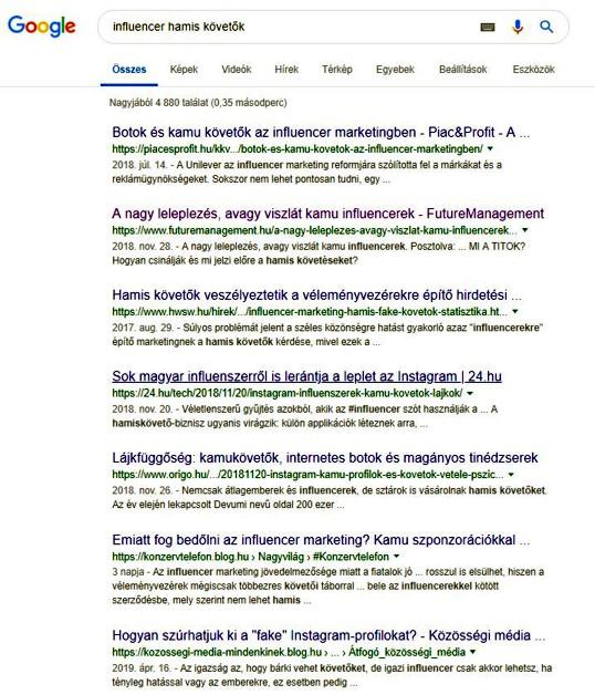 Hamis követőkről könyvtárnyi bejegyzés a Googleban