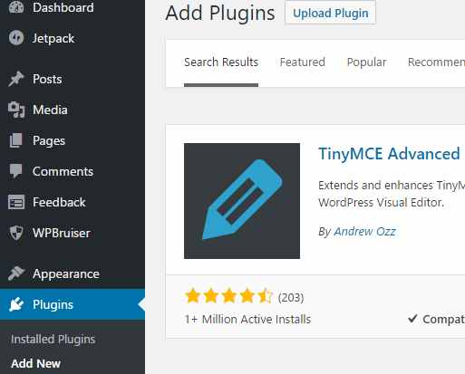 tinymce-advanced plugin in for seo content writing