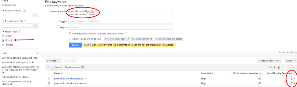 Screenshot of keyword research in the Google Keyword Tool