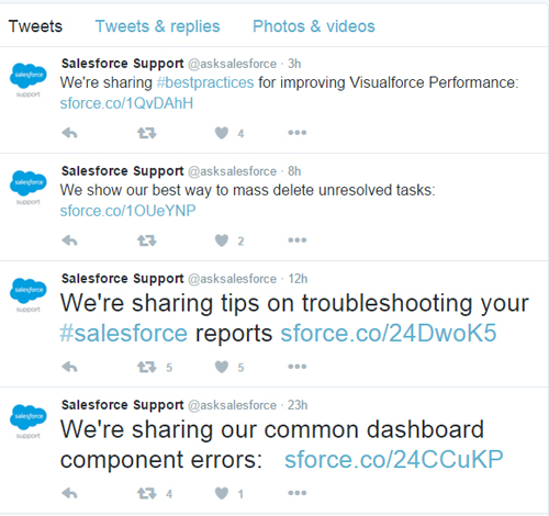 Salesforce Support Tweets