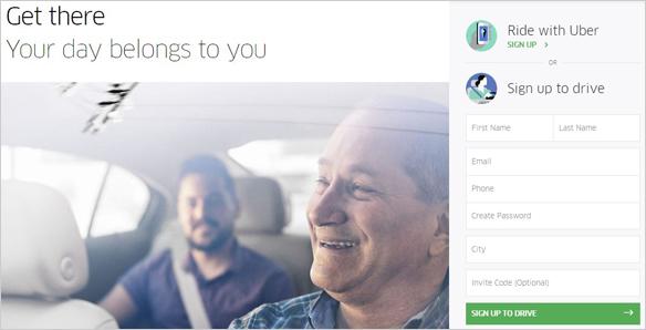 Uber - Human Element in Landing Page Design