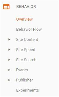 Behavior tab in Google Analytics