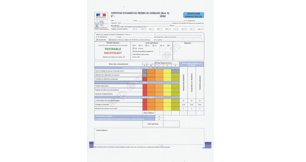 La grille d'évaluation du permis de conduire.