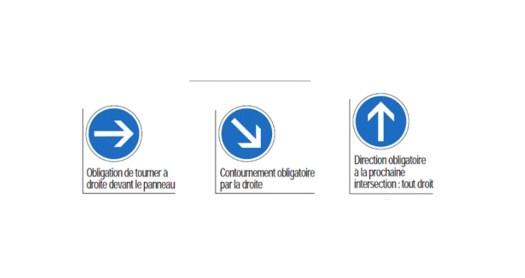 panneaux de direction obligatoire