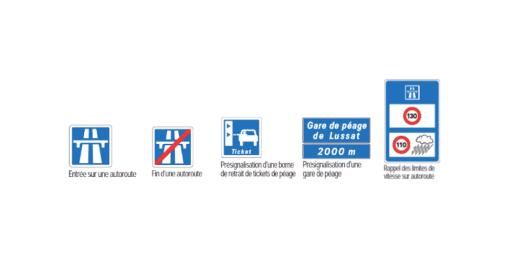 Panneaux d'indication sur l'autoroute.