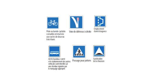 Panneaux d'indications des aménagements routiers.