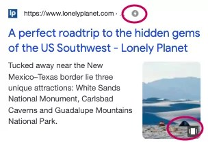 Search result with Google Web Stories.