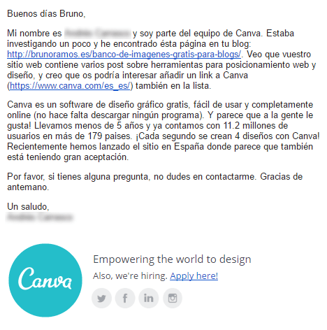 Mail de Canva.com pidiendo enlaces