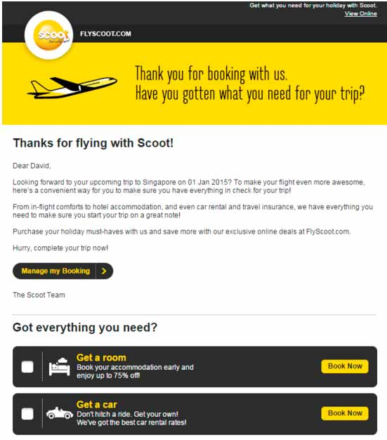 El email con cross-selling de Fly Scoot
