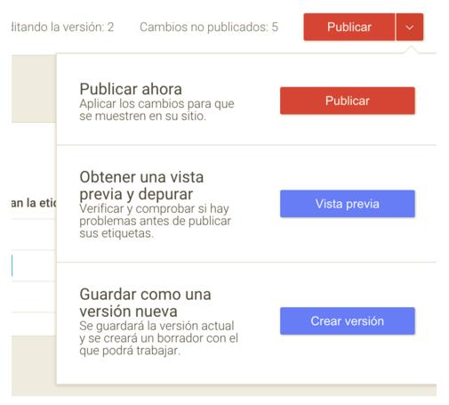 Revisar y publicar la etiqueta de Google Tag Manager