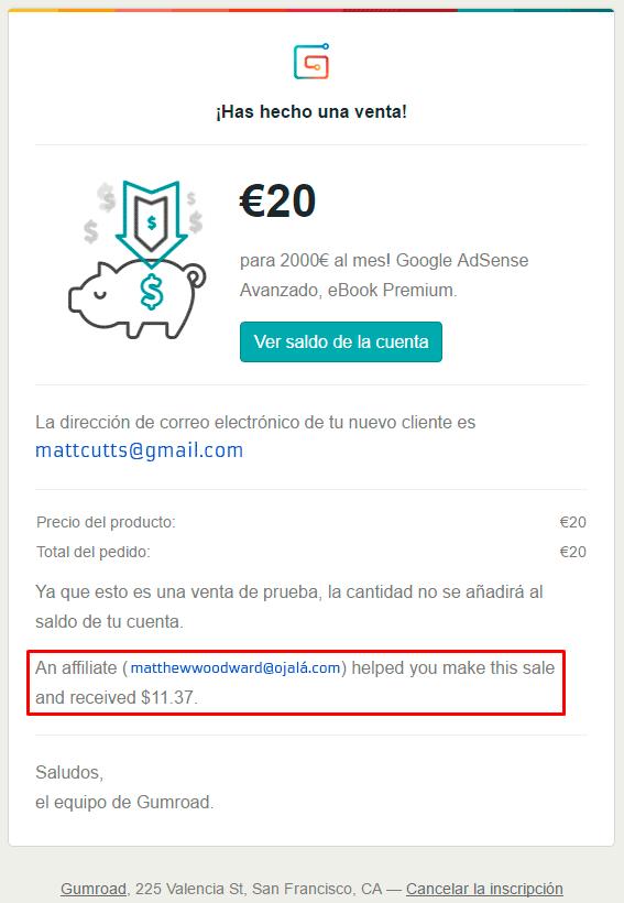 Aviso por email de una venta en Gumroad
