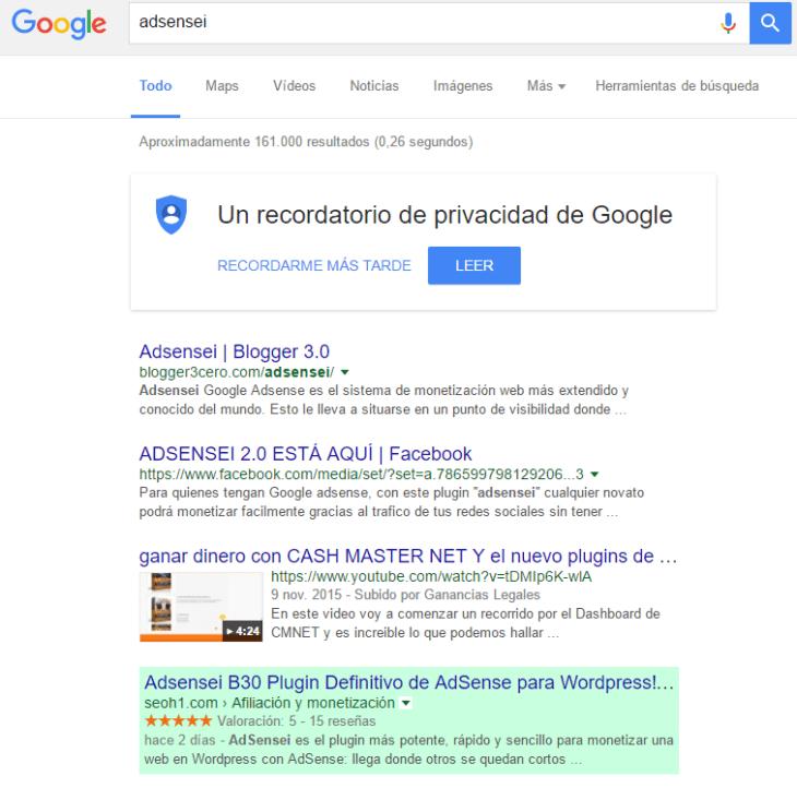 Posición del post sobre AdSensei de SEOH1 en Google España