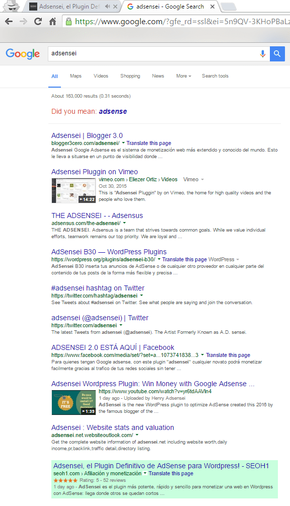 Posición del artículo sobre AdSensei en Google.com