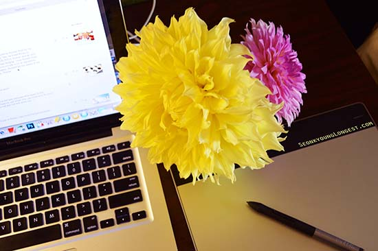 Desk with Flower